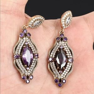Sultan Ottoman Topaz Amethyst Drop Earrings